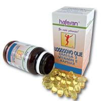hafesan Lososovo olje – omega 3 + Vitamin E 500 mg kapsule